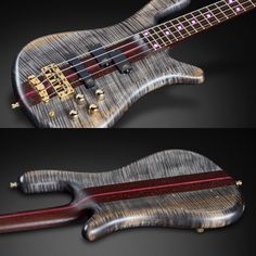 Warwick Streamer Stage I bass with AAA flamed Maple body wood and bleached Nirvana black transparent satin finish