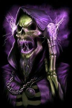 Purple electric skull