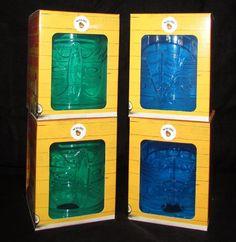 4 Lot 2 Green 2 Blue Plastic Malibu Tiki Mug Glasses 12oz Recipes on Box NEW NIB… Boxing News, Plastic, Mugs, Glasses, Green, Recipes, Blue, Ebay, Eyewear