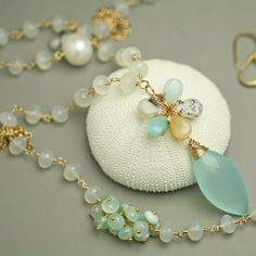 Blue Peruvian Opal Flower Necklace with Chalcedony and Pearls Statement Necklace on Etsy, $292.00