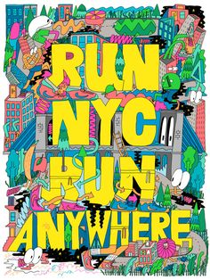 Emmy winning Art and Design in Brooklyn, NY Crowd Drawing, Mike Perry, Running Posters, Animation Types, Design Art, Graphic Design, City Illustration, Typography Letters, Types Of Art