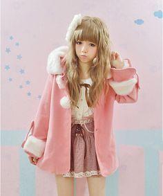 New Lolita cute fur ball buckle fur collar coat