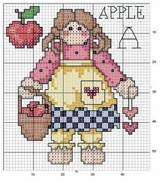 FREE Cross Stitch: Country. I try to avoid Xs with the alphabet but these are just too cute to pass up! Color chart is under pattern on the site.