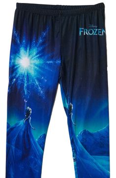 "These girls Frozen leggings show Elsa the Snow Queen magically creating ice on her isolated mountain. This represents the scene where Elsa sang ""Let It Go"", and released all of her fears concerning he"