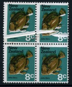 Stamps - Errors #306614 NZ Error 1970 Pict 8c John Dory Fish, Exhibition item, unh blk 4 with top pair major pre printing crease, lower pair major black shift ...