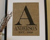 ORIGINAL...La Poste Burlap Announcement: Monogram with Names...Great for Engagement, Wedding or Anniversary. Artwork Only