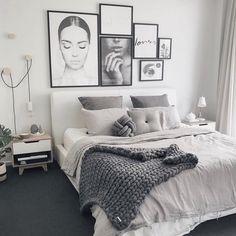 25 Gorgeous Modern Scandinavian Bedroom Design And Decor Ideas - Room Ideas Bedroom, Home Decor Bedroom, Bedroom Wall, White Bedroom Decor, Bedroom Furniture, Bedroom Inspo, Bedroom Frames, Bedroom Rustic, Grey Furniture