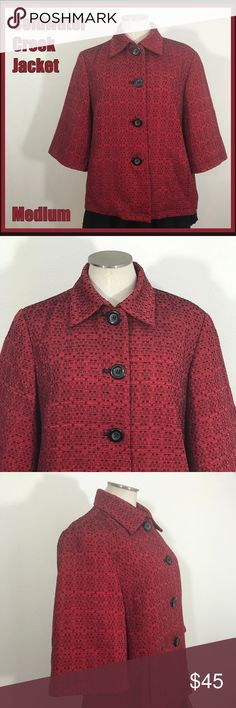 "🐣 Coldwater Creek Red Black Jacket Medium M Oh, I just love the color and pattern to this jacket from Coldwater Creek! It is in EUC and ready to swing into your wardrobe.  Measurements:  -Armpit-to-armpit: 21"" -Length: 24"" -Sleeve: 14.75""  From a smoke-free and happy-to-bundle closet.  No trades or transactions outside of Poshmark. [T623] Coldwater Creek Jackets & Coats"