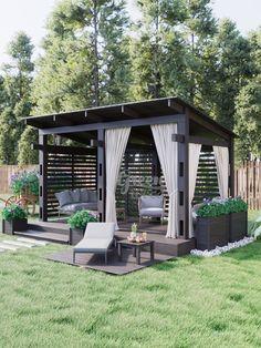 Backyard Gazebo, Backyard Seating, Backyard Patio Designs, Outdoor Pergola, Outdoor Rooms, Backyard Landscaping, Outdoor Living, Back Garden Design, Terrace Design