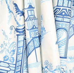 Peaceful Temple, Porcelain Fabric by Waverly