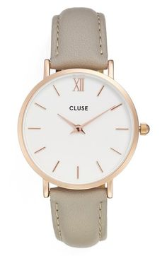 Main Image - CLUSE 'Minuit' Leather Strap Watch, 33mm