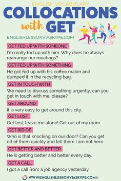 English Expressions with GET - Intermediate Level English Vocabulary GET: Collocations with Get with English Adjectives, Learn English Grammar, English Writing Skills, Book Writing Tips, English Idioms, English Vocabulary Words, English Language Learning, English Phrases, Learn English Words