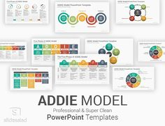 ADDIE Model PowerPoint Template Diagrams Ppt Slide Design, Powerpoint Slide Designs, Powerpoint Themes, Powerpoint Presentation Templates, Instructional Design, Presents For Her, Icon Font, Design Model, All The Colors