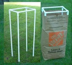 PVC Projects like: pvc pipe to hold yard bags open! Turn it upside down and you can hang a large trash bag. Pvc Pipe Crafts, Pvc Pipe Projects, Outdoor Projects, Diy Projects To Try, Garden Projects, Home Projects, Plastic Garden Furniture, Pvc Pipe Furniture, Ideias Diy