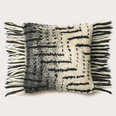 "Put the fun in funky with this bold shaggy steps pillow that has fringe for days! Product Details: Size: 18""X18"" Materials: 39% Jute, 31% Hosiery Chindi, 20% Co"
