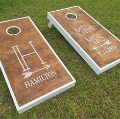 Super easy to personalize your own gorgeous cornhole set with vinyl decals. An awesome DIY project or wedding gift for the bride and groom or an awesome way for dad to make a meaningful contribution to wedding planning. Wedding Gifts For Bride And Groom, Mr And Mrs Wedding, Bride Gifts, Bride Groom, Wedding Reception Games, Outdoor Wedding Games, Outdoor Games, Lawn Games Wedding, Wedding Venues