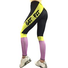 Customizable Leggings - Get Fit Stay Fit Sporty Leggings - Motivational Leggings - Yoga Leggings - Fitness Leggings - Christmas Gift