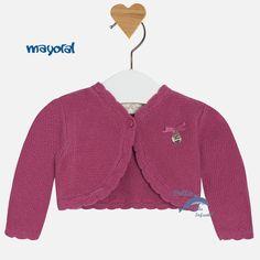 Rebeca corta de bebe niña MAYORAL NEWBORN de tricotosa en algodón color ciruela.