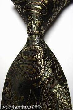 3367eb86fa69 Details about New Classic Paisley Gold Brown Black JACQUARD WOVEN 100% Silk  Men's Tie Necktie