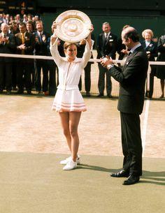 Chris Evert  1974 winning Wimbledon. Photos of Tennis Fashion - Photos of Tennis Apparel - Town & Country Magazine