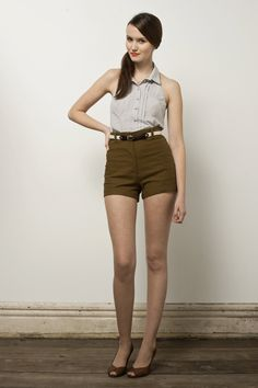 highwaisted shorts and side ponytail. by betina lou