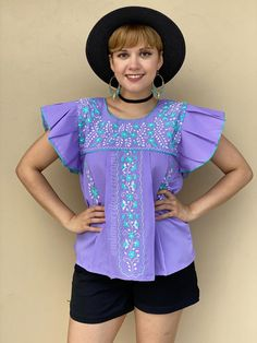 Hand embroidered floral summer top, MEDIUM mexico blouse women, lavender ruffled sleeve shirt, resort wear, tropical destination outfit Mexican Blouse, Mexican Outfit, Mexican Top, Fiesta Outfit, San Antonio, Resort Wear, Ruffle Sleeve, Festival Fashion, Shirt Sleeves