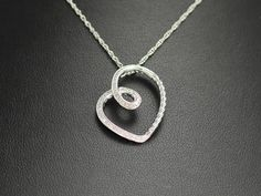 Sterling silver diamond heart pendant with chain - on sale now for $89!