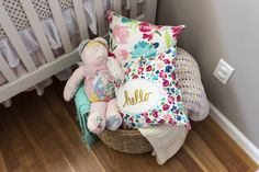 We can't resist a basket full of cute pillows and blankets!