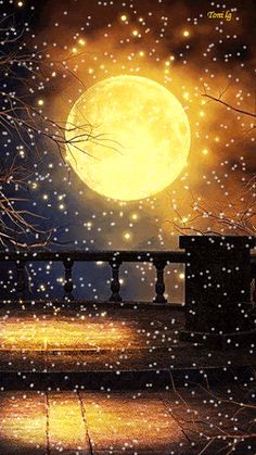 Snowing in a full moon .