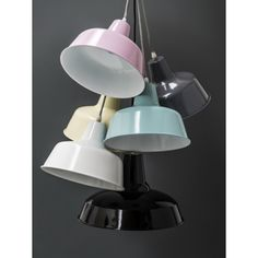 Lamp of the roof of metal with an enamel finish of light blue. The cable is included in white cloth and black and metallic finial tambén of light Desk Lamp, Table Lamp, Black And White Fabric, Ceiling Lamp, Cozy House, Light Blue, Bulb, Lighting, Metal