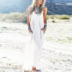 Boho Sexyback Maxi Dress - Rebel Style Shop - Hit the beach in style with this sexy Boho maxi dress.