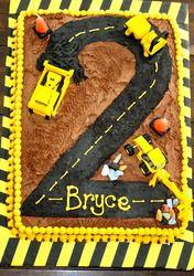 Cute construction cake for a boy birthday party. Cake for birthday 2 Birthday Cake, 3rd Birthday Parties, Birthday Ideas, Digger Birthday Cake, Birthday Banners, Farm Birthday, 1st Birthdays, Birthday Invitations, Birthday Celebration