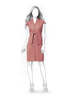 Dress With Buttons - Sewing Pattern #4037. Made-to-measure sewing pattern from Lekala with free online download.
