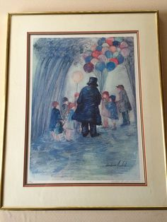"Barbara A. Wood ""Balloon Man"" Limited Edition Lithograph Print Signed & Numbered"