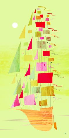 Thinking of having my daughter paint the background color and then I can use left over fabric scraps as the sails -- collaborative family art! http://www.kenart.net/