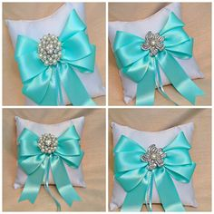 Ring Bearer Pillow - Ring Pillow - Ivory Ring Pillow Wedding - Aqua Wedding - Ringbearer Pillow - Bridal Pillow - Custom Ring Pillow Colors by A Priceless Princess Bridal on Etsy https://www.etsy.com/listing/269205842/