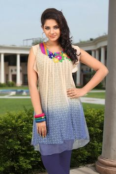Shaded Cream and Blue Faux Chiffon Readymade Tunic Price : Rs. 2,480.00  Visit >> http://www.sareeshut.com/indo-western/navigation/best-seller/shaded-cream-and-blue-faux-chiffon-readymade-tunic.html