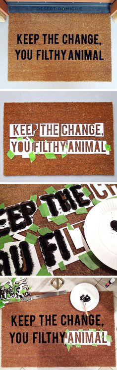 Home Alone Inspired Doormat | Click Pic for 21 DIY Christmas Outdoor Decorations Ideas | Front Porch Christmas Decorating Ideas for Outside