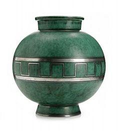 WILHELM KÅGE, vase, Gustavsberg 1934, Argenta, green glaze, painted black geometric decoration, signed GUSTAVSBERG E KÅGE ARGENT 1045, height 21cm