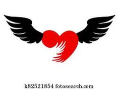 Flying heart with wings red icon on white background. Cross With Wings, Heart With Wings, Black Angel Wings, Black Angels, Free Christmas Backgrounds, Wings Icon, Sepia Color, Free Angel, Girls With Black Hair