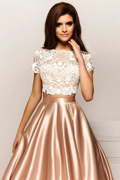 Bateau Neck party dress Two Pieces prom gowns Short Sleeves ball gowns Lace Evening Dress Prom Dressessexy prom gownsnew fashion - Alison Dress Prom Dresses With Sleeves, Lace Evening Dresses, Elegant Dresses, Pretty Dresses, Sexy Dresses, Evening Gowns, Beautiful Dresses, Fashion Dresses, Formal Dresses