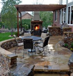 Fireplace, Exciting Natural Themed Outdoor Flagstone Patio Remodel With Covered Stone Fireplace And Cool Pergola: Cool Outdoor Patio Fireplace Designs Stone Patio Designs, Backyard Patio Designs, Patio Ideas, Backyard Ideas, Landscaping Ideas, Backyard Bbq, Bbq Ideas, Pergola Ideas, Backyard Landscaping