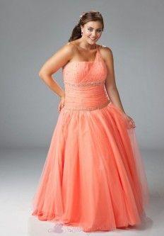 9b7a5598ce6 Stretch Satin   Net One Shoulder Plus Size Prom Dress P2990 Plus Size Prom  Dresses