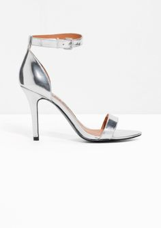 & Other Stories image 1 of Metallic Leather Sandalette in Silver