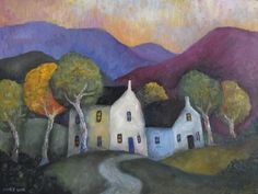 Cottages in a mountain landscape (commissioned work). by Jeremy Mayes
