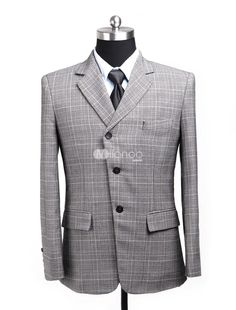 Gray Three-Button Cotton Blend Mens Suit. See More Mens Business ...