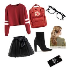 """""""Friday"""" by suefashionwardrobe on Polyvore featuring Little Wardrobe London, Gianvito Rossi, Casetify, Kitsch and Fjällräven"""