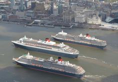 The three Cunard Queens Queen Mary 2 Queen Victoria and Queen Elizabeth meet on the River Mersey for the first time on May 25 2015 in Liverpool England. Liverpool Waterfront, Liverpool Town, Liverpool Docks, Liverpool History, Liverpool England, Cunard Queen Victoria, Cunard Ships, Jet Ski, Queen Mary