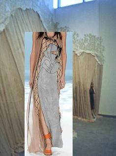 Carlie Trosclair, Intra (2011); fabric and wallpaper and Chalayan SS15