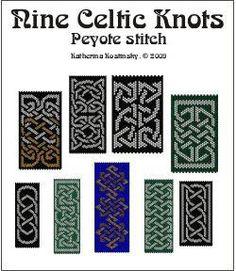 9 Celtic Knot ornaments for peyote stitch, Sova Enterprises